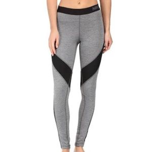 Nike Hyper Warm Heather Gray Sport Mesh Leggings